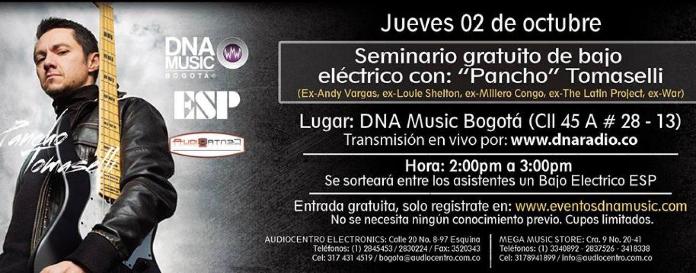 """Seminario gratuito con """"Pancho"""" Tomaselli en DNA Music Bogotá"""